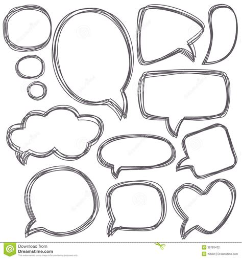 doodle bubbles vector free doodle speech bubbles different sizes and forms stock