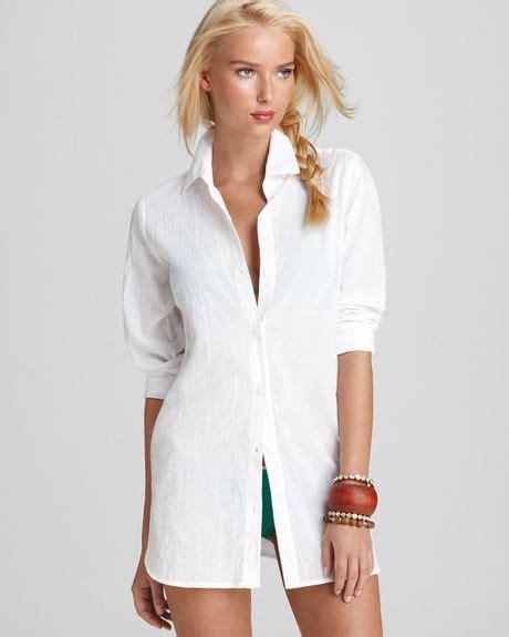 Where To Get Boyfriend Shirts Bahama Crinkle Cotton Boyfriend Shirt In White Lyst