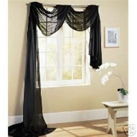 how to put a curtain scarf up sheer voile 216 quot window scarf black ebay
