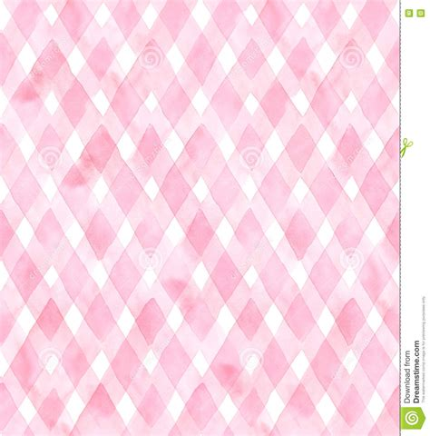 watercolor check pattern diagonal gingham of pink colors on white background