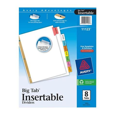 avery 8 tab template avery 11123 big tab insertable dividers 8 1 2 x 11 quot 8