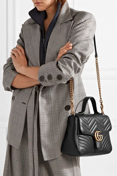 gucci gg marmont small chevron quilted top handle bag with chain black modesens