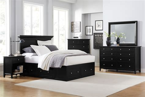king bedroom set with storage ellsworth 4 piece king storage bedroom set black levin