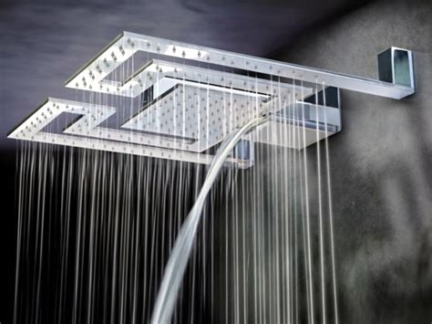 shower heads and light rain with modern lighting by