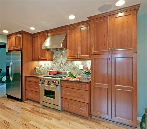 with cherry cherry cabinets kitchen contemporary with custom built in