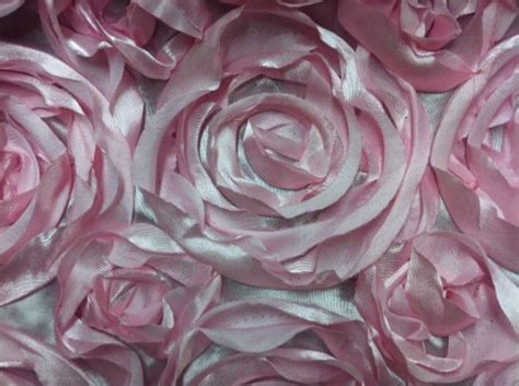 Bahan Silky Textile Bunga 002 satin flower applique apparel fabric event fabric pink kos002