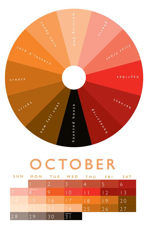 february colors october color wheel 2012 calendar in 2018
