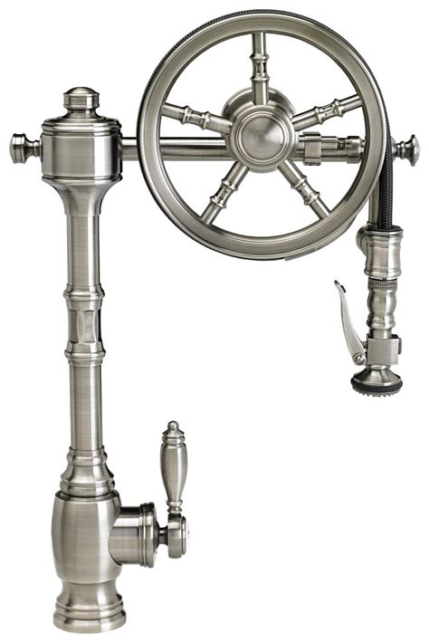 pewter kitchen faucets waterstone wheel pulldown kitchen faucet 5100 finish is antique pewter the wheel pulldown