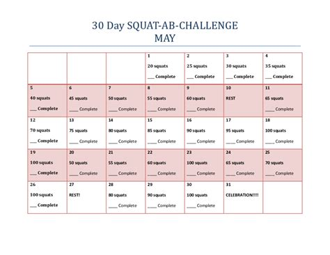 30 day workout challenges 30 day ab and squat workout challenge workout