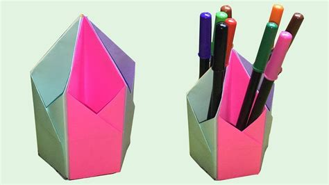 How To Make Paper Pen Stand - how to make a pen stand pen holder diy paper pencil