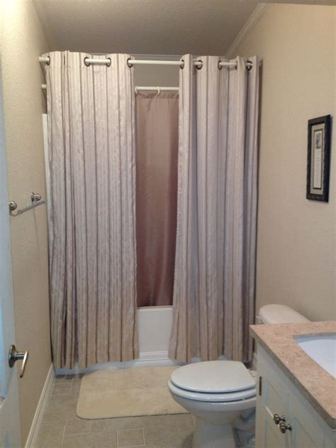 bathroom shower curtains ideas hanging shower curtains to make small bathroom look bigger remodeling ideas