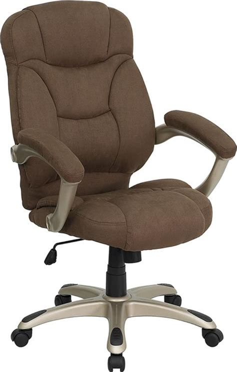 brown microfiber fabric computer office desk chair ebay - Cloth Desk Chair
