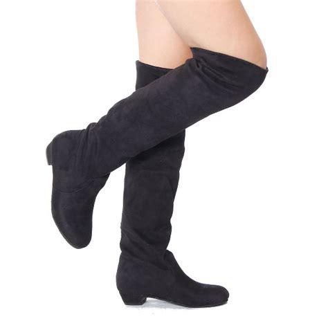 s stylish winter flat heel the knee suede