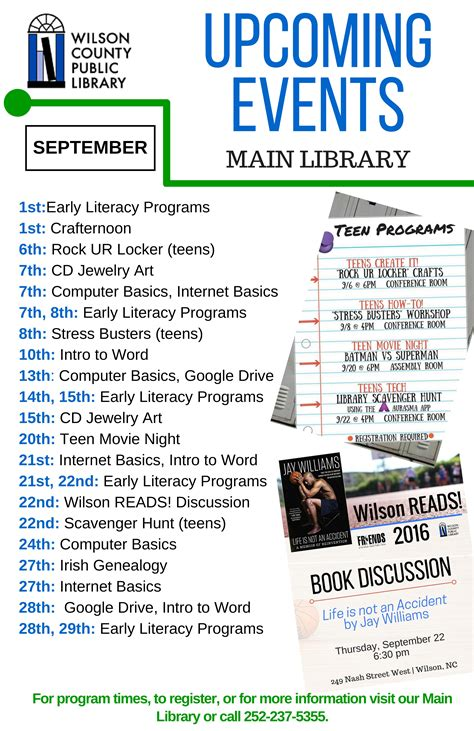 fcpl news and special events library wilson county public library announces september programs