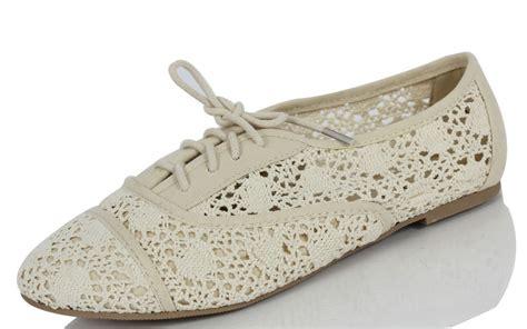 crochet oxford shoes s beige crochet lace up oxford flat shoes joshua ebay