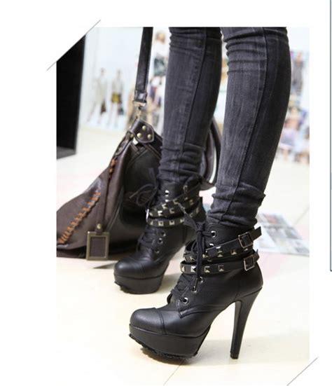 Lace Up Studded Platform Shoes faux leather platform studded belt shoes high heel