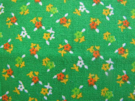 70s fabric vintage green calico fabric 60s 70s floral fabric cotton