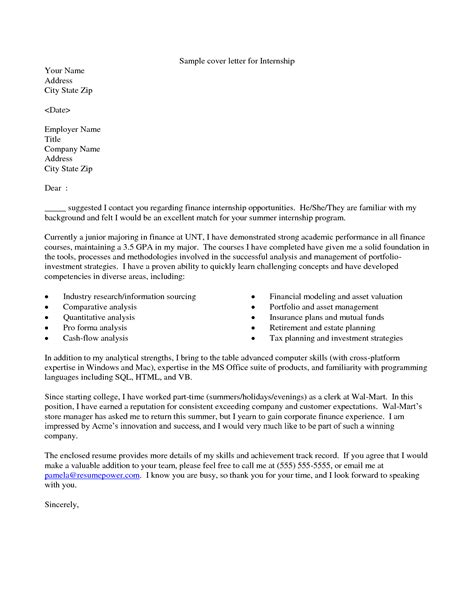 sles of cover letters for internships sle cover letter for it internship guamreview