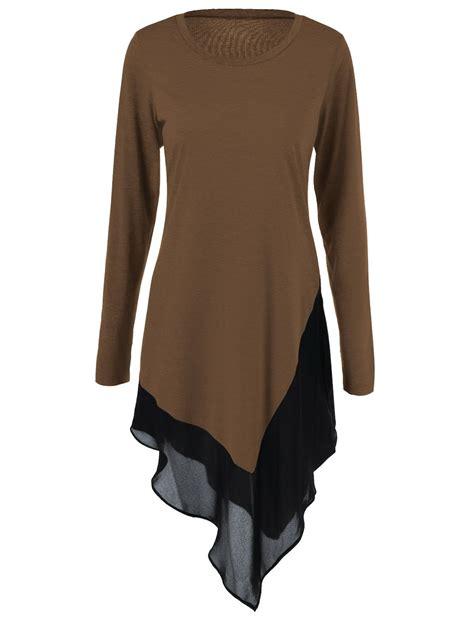 Blouse Chiffon Blouses Shirts Brown Chiffon Patchwork Asymmetrical