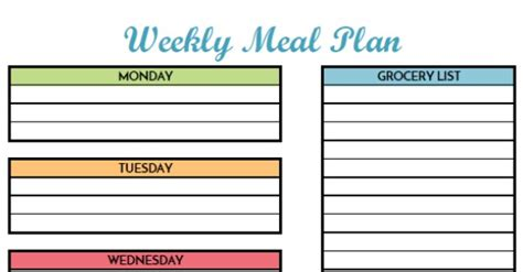 printable grocery list with meals free weekly meal planning printable with grocery list