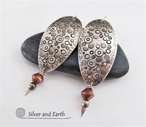 Handcrafted Silver - sterling silver earrings with intricate textured design
