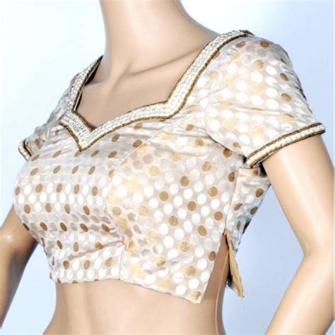 Villa Blouse Silver Zv buy gold silver brocade with work of pearl blouse craftsvilla