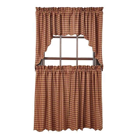 36 x 36 curtains burgundy check scalloped curtain tiers 36 quot w x 36 quot l