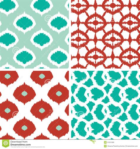 handwriting pattern wallpaper set of green and red ikat geometric seamless stock vector