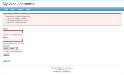 tutorial membuat website dengan yii framework cara membuat data validation di yii framework jin toples