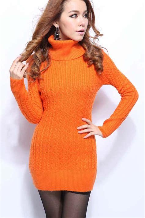 orange high collar twist long sleeves sweater dress