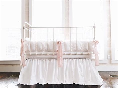 Cinderella Style Washed Cotton Crib Bedding In White White Ruffle Crib Bedding