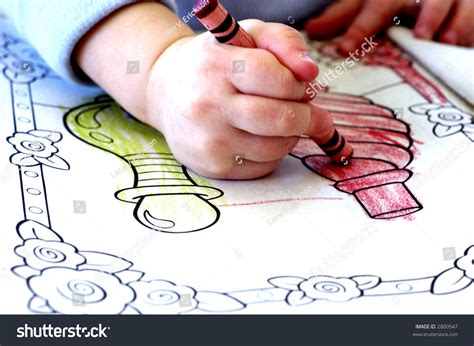 child color little child coloring coloring book crayons stock photo