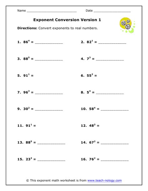 Math Worksheets On Exponents by 6th Grade Math Worksheets Exponents