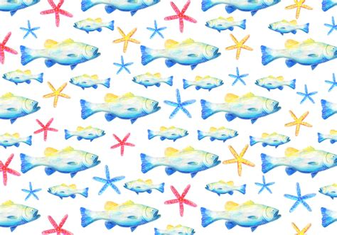 vector watercolor fish patterns download free vector art free vector watercolor bass fish background download