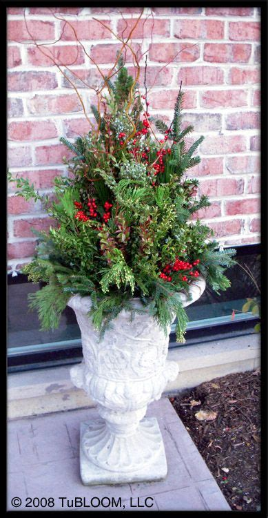 outdoor winter planter ideas fall planter ideas antigue solid concrete urn chicago container garden design by tubloom