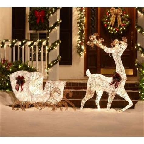 reindeer sleigh lawn decorations for christmas outdoor large decorations with lighted lawn sculptures and fiber optic yard reindeers