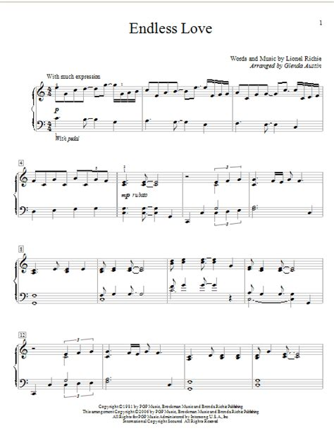 tutorial piano endless love endless love sheet music by glenda austin educational