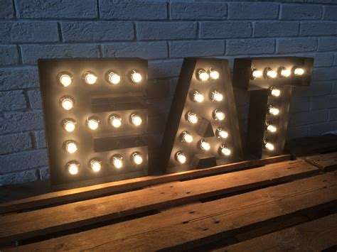 Letters Of Metal Large Eat Sign Light Up Kitchen Or Restaurant Light Up Sign