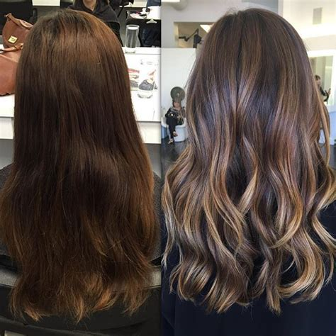 balayage highlights mid length hair before and after balayage black hair before after www imgkid com the