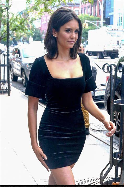 nina dobrev   black dress bodycon dress