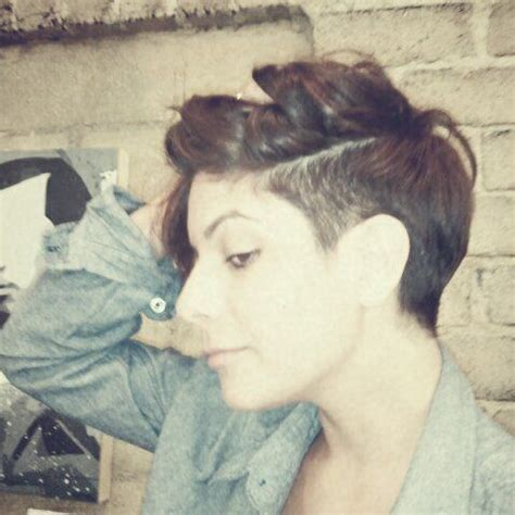 short sides long top pixie pixie cut long top buzzed side hair pinterest