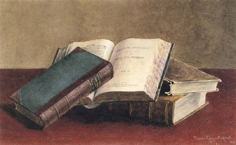 painting book unidentified open book propped against two stacked volumes