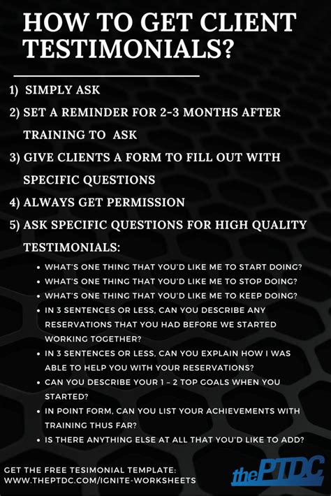 How To Get Client Testimonials For Personal Trainers Plus A Testimonial Template The Personal Personal Trainer Testimonial Template