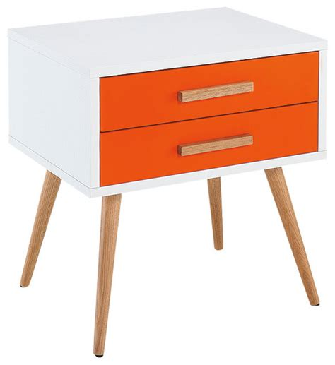 orange accent tables diamond sofa tangent 2 drawer accent table white top