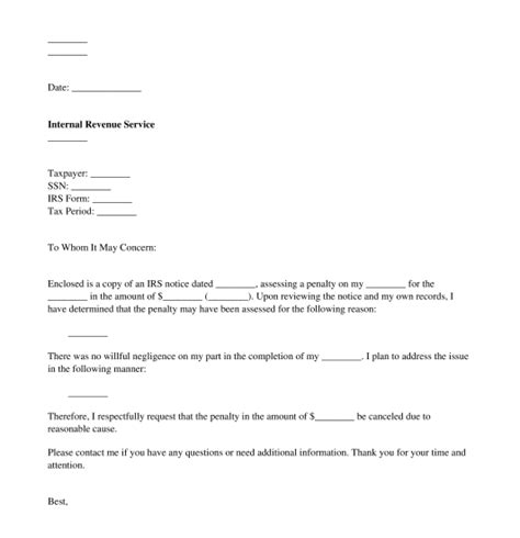 irs penalty response letter template word