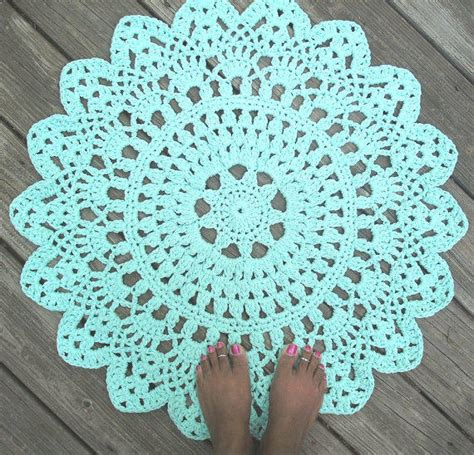 non pattern robins egg blue cotton crochet doily rug from by camille