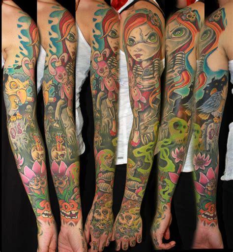 halloween tattoo sleeve cemetery puppet sleeve by davezjamestattoos on