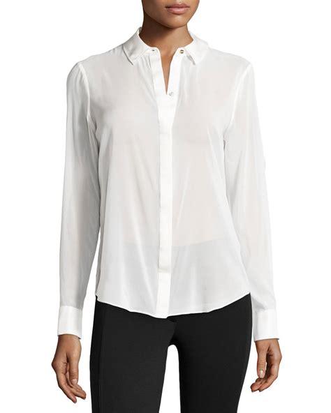 white sheer silk blouses for women rachel zoe sheer chiffon blouse w silk trim in white lyst