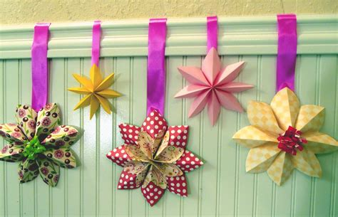 How To Make Origami Hanging Decorations - how to fold a flower decoration floral decor