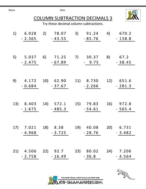 Fifth Grade Worksheets by 5th Grade Math Practice Subtracing Decimals